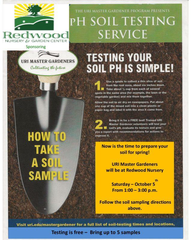 , The URI Master Gardeners Program presents pH Soil Testing Service, Redwood Nursery & Garden Center