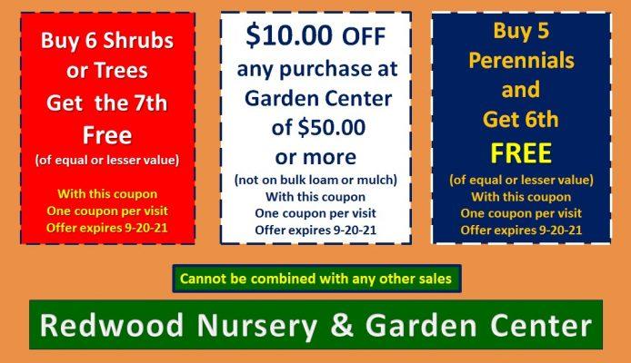, Coupons, Redwood Nursery & Garden Center